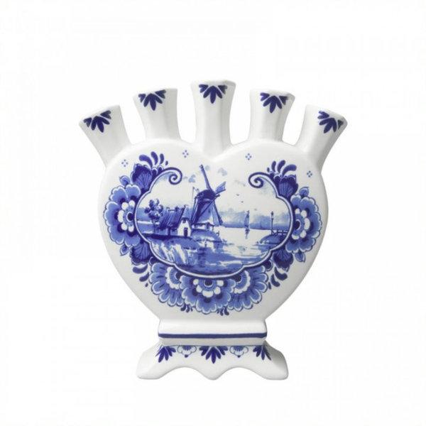 Tulip vase Delft blue heart shape