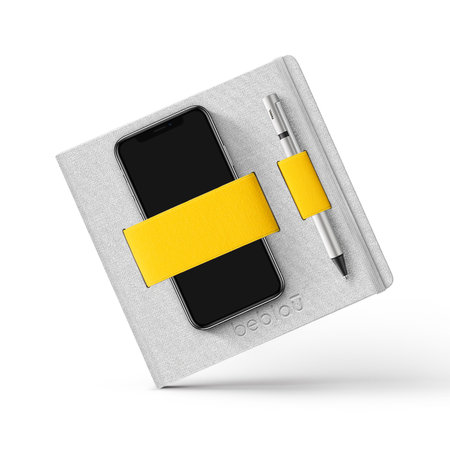 """Notebook mit elastischem Organizer """"Flex"""" Gelb"""