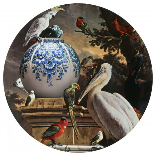 Grande assiette murale Melchior d'Hondecoeter pélican