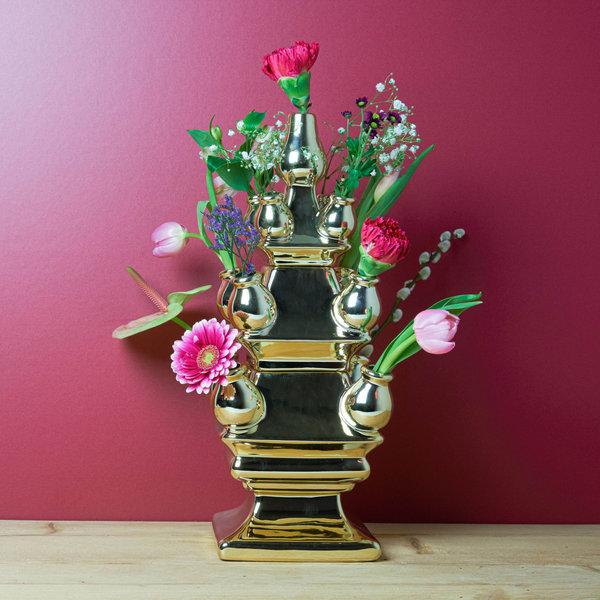 Gouden tulpenvaas 3 delig