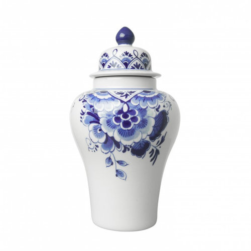 Lid vase with Delft blue flowers