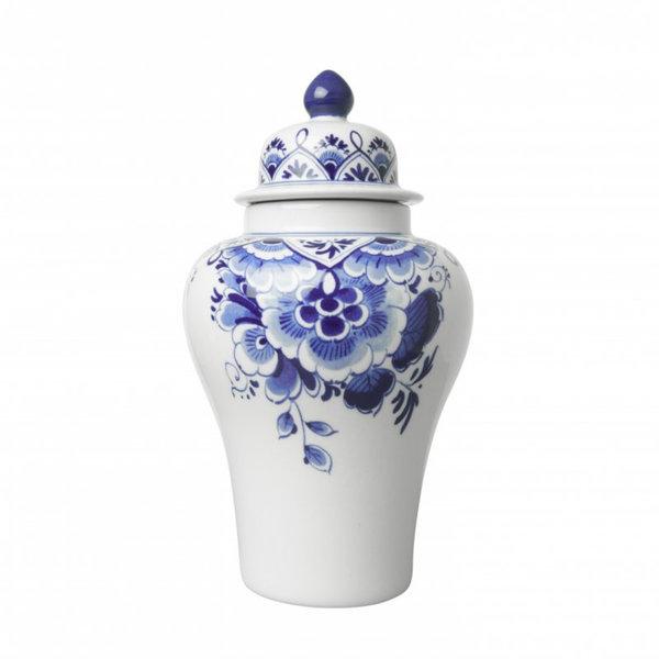 Dekselvaas met bloemen Delfts blauw
