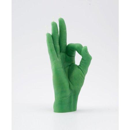 Hand kaars goed gedaan groen