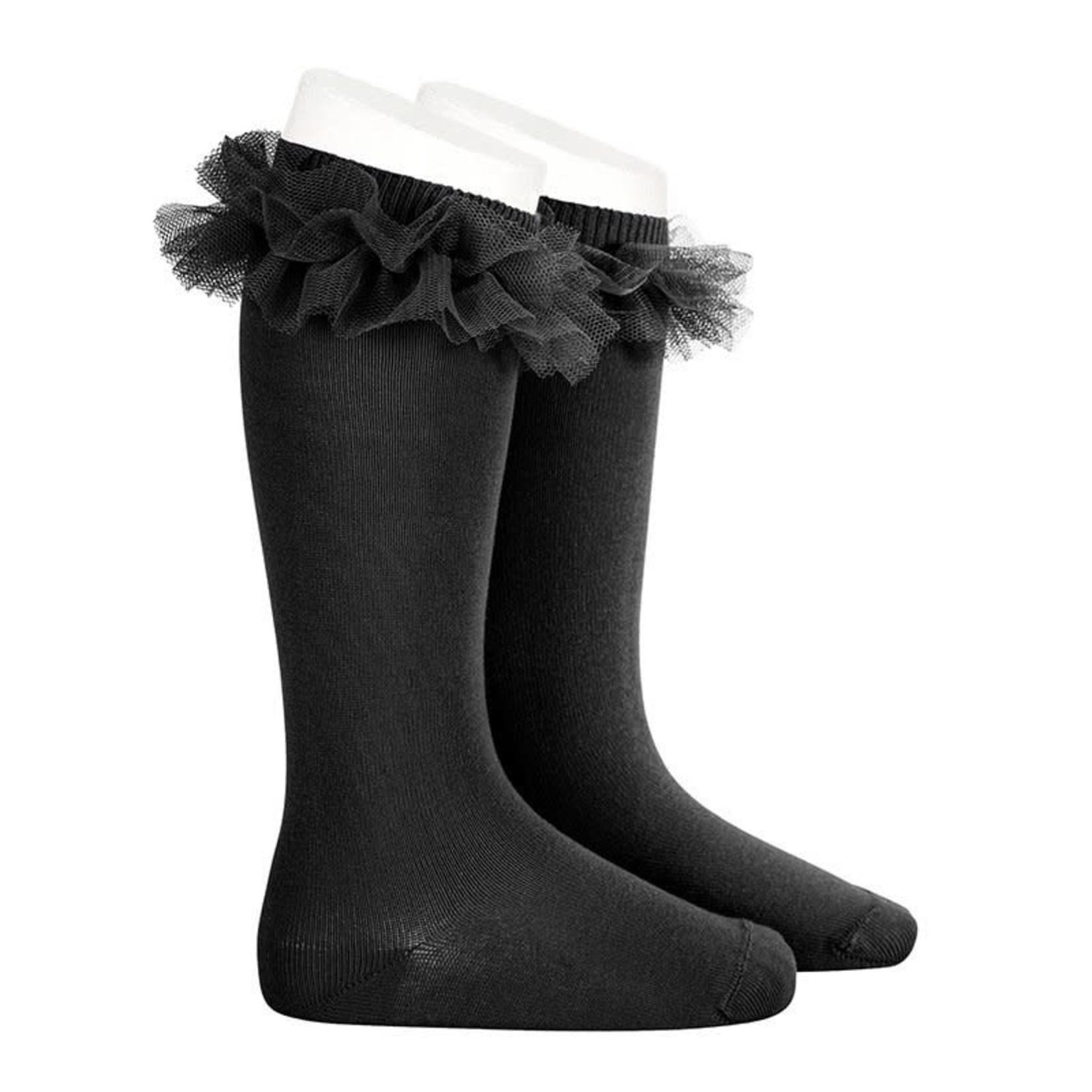 Ruffle Socks Knee High - Black