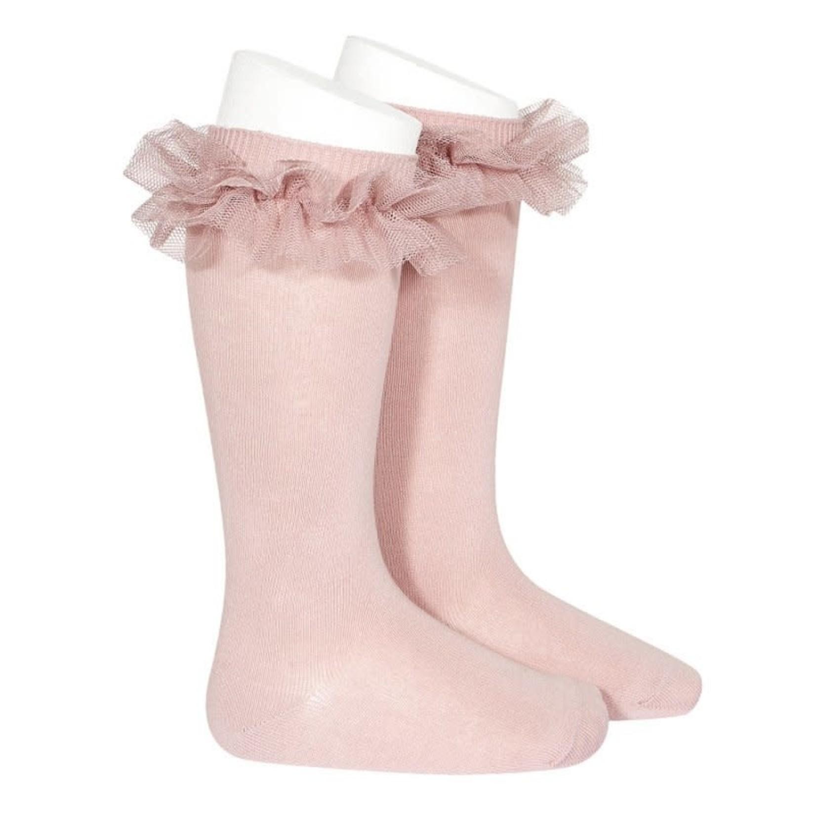 Condor Ruffle Socks Knee High - Pale Pink