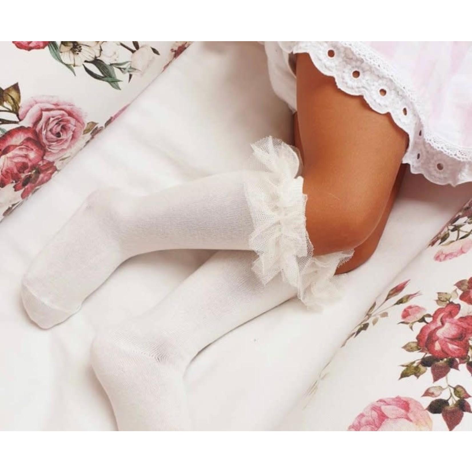 Ruffle Socks Knee High - Cream