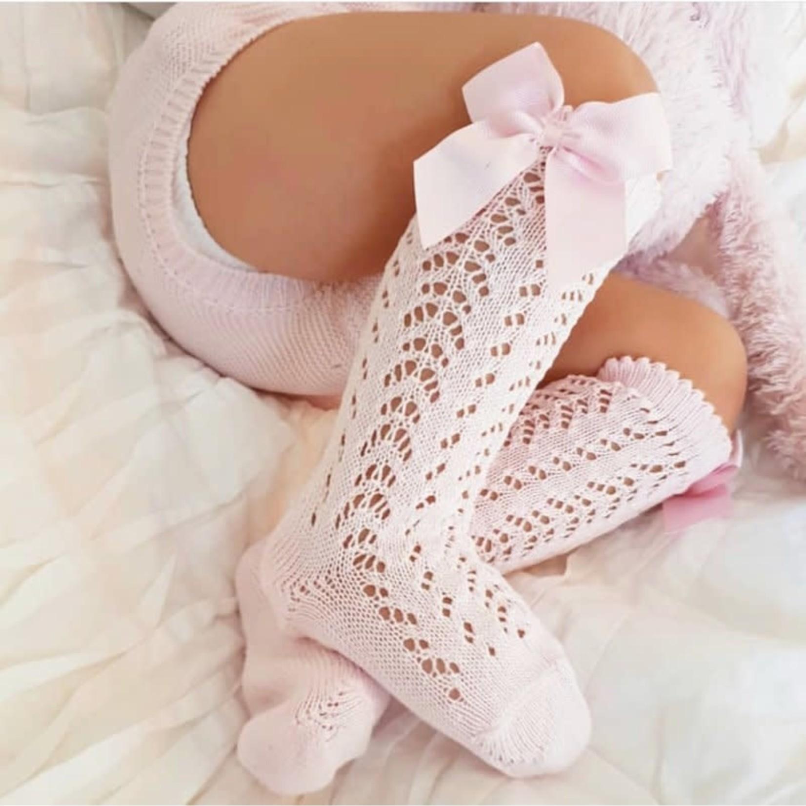 Socks Open w/Bow - Pink