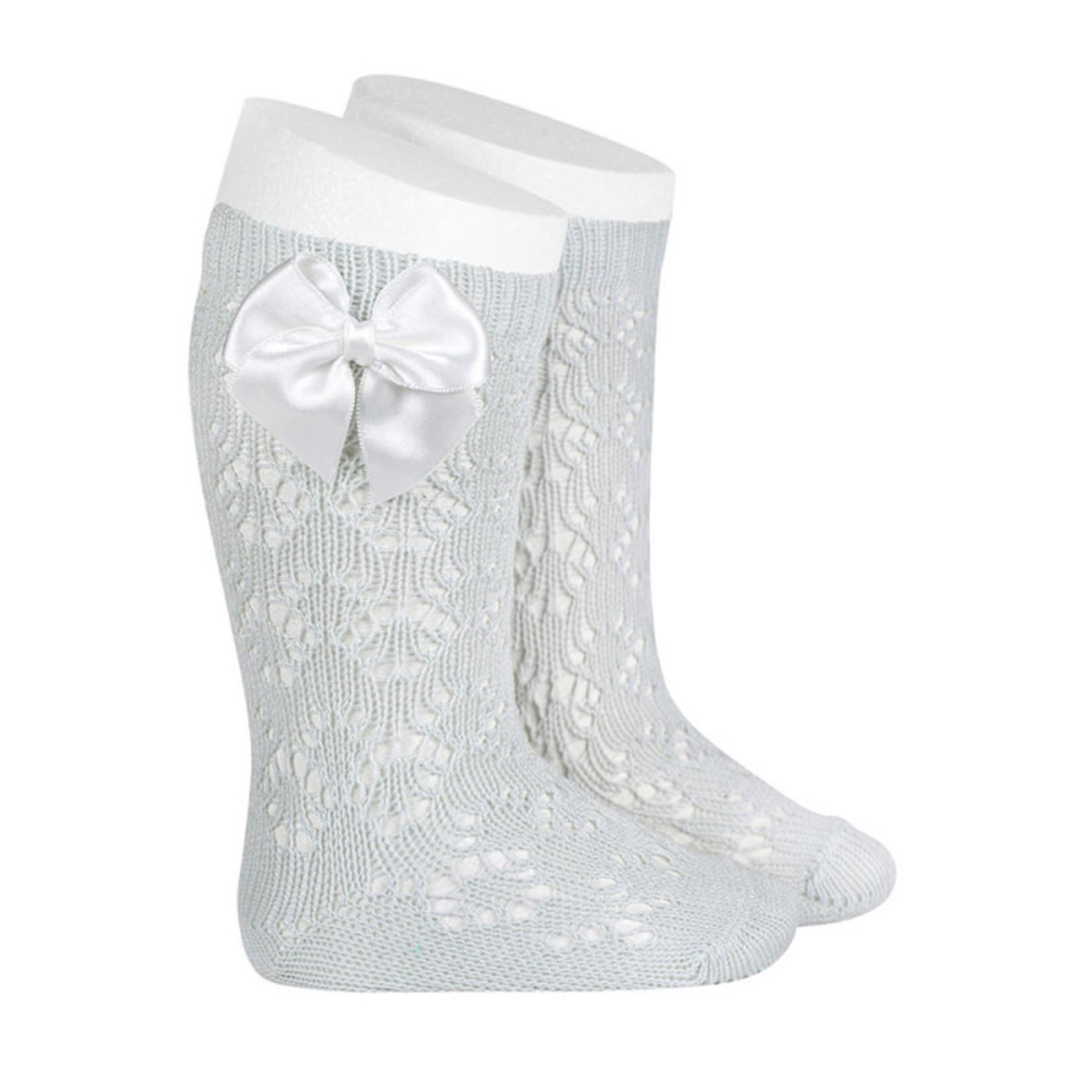 Socks Open w/Bow - Pearl