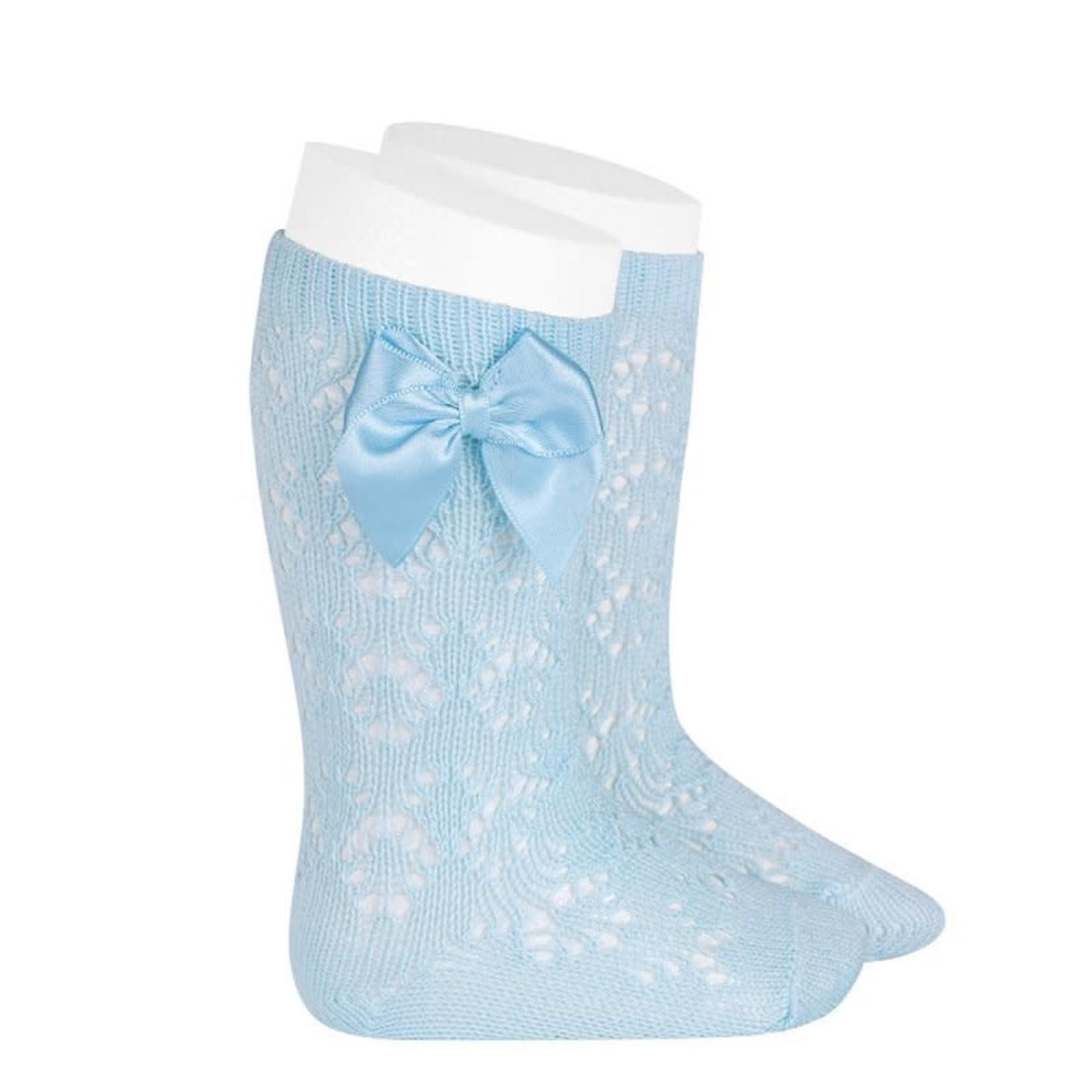 Socks Open w/Bow - Light Blue