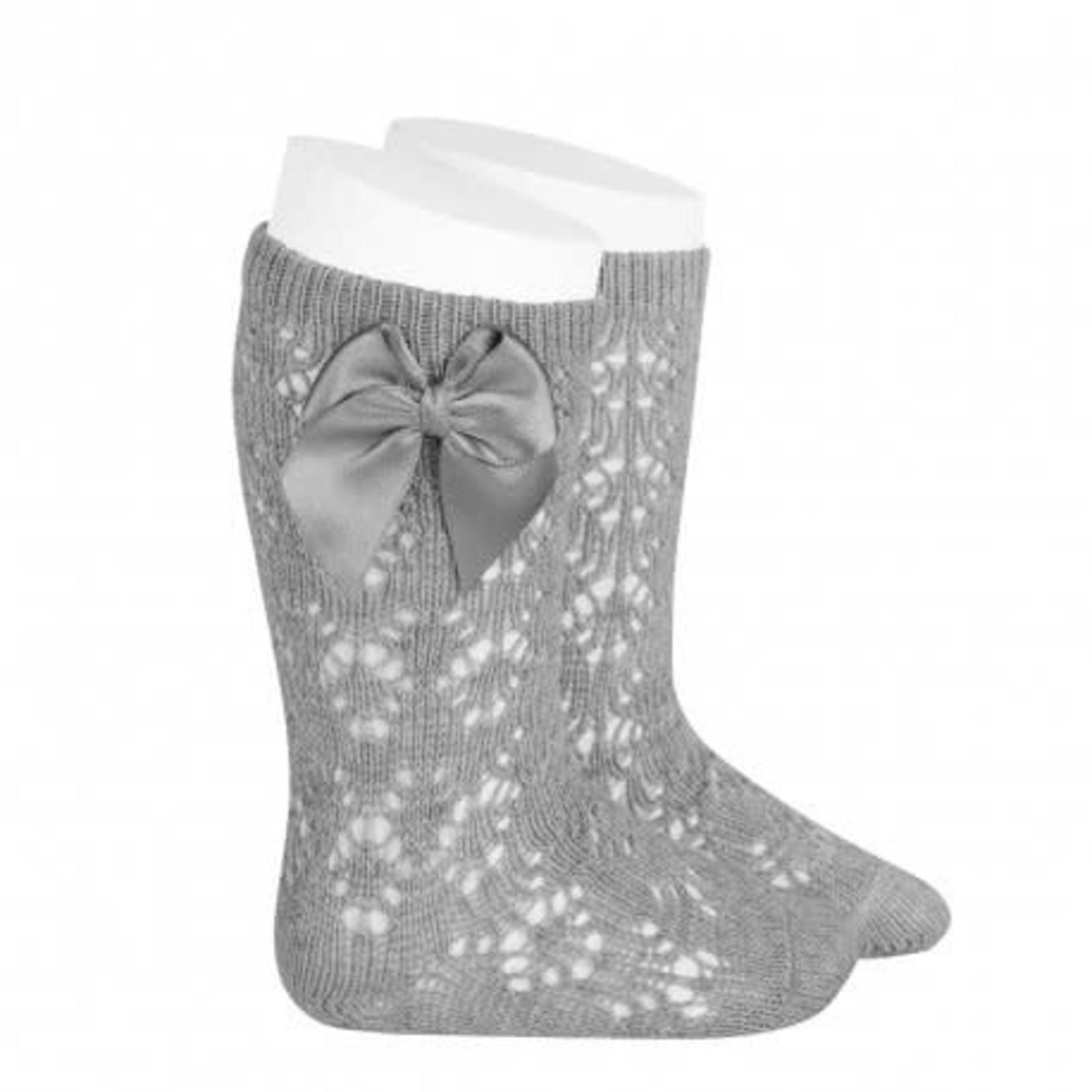 Socks Open w/Bow - Gray