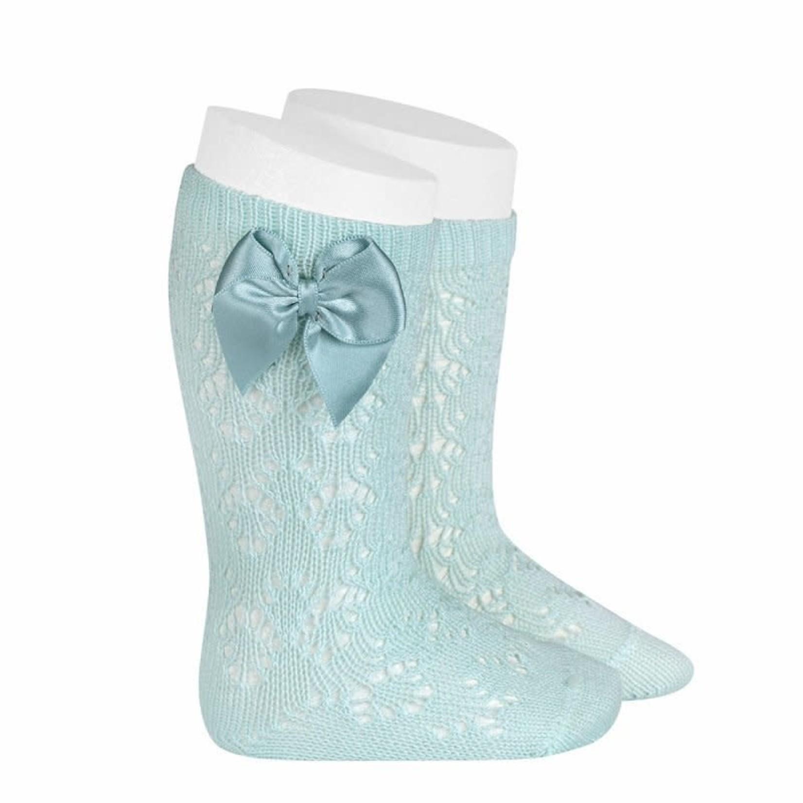 Condor Socks Open w/Bow - Aquamarine