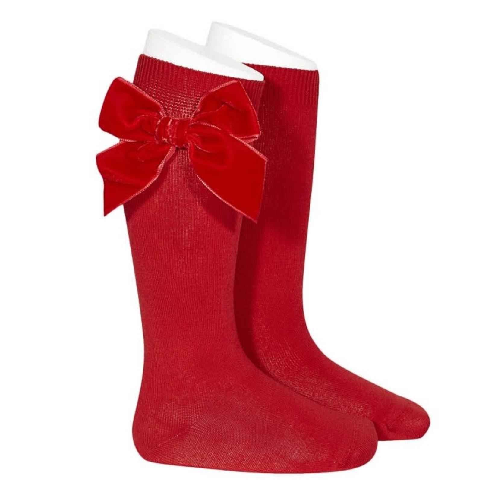 Velvet Socks Knee High - Red