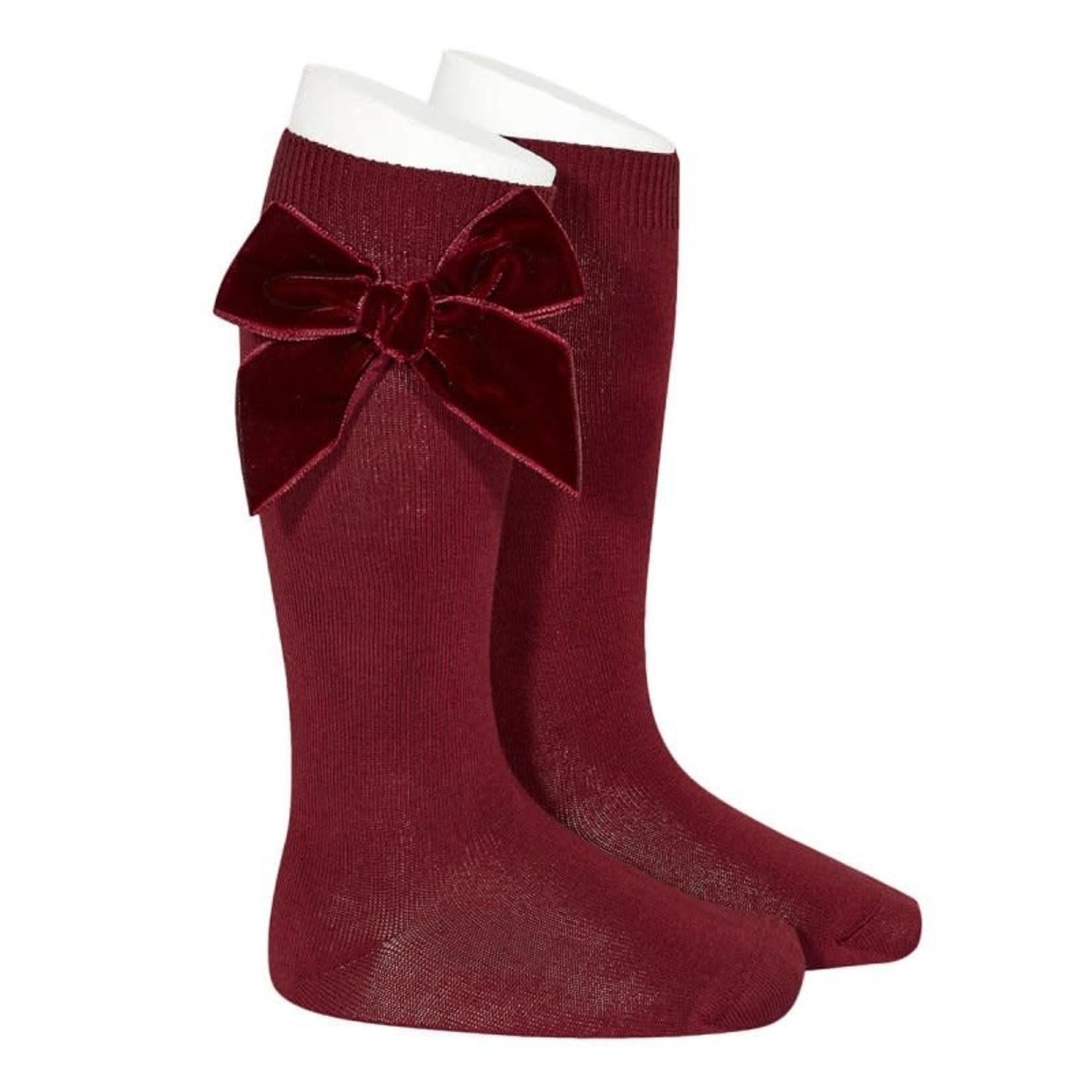 Condor Velvet Socks Knee High - Burgundy