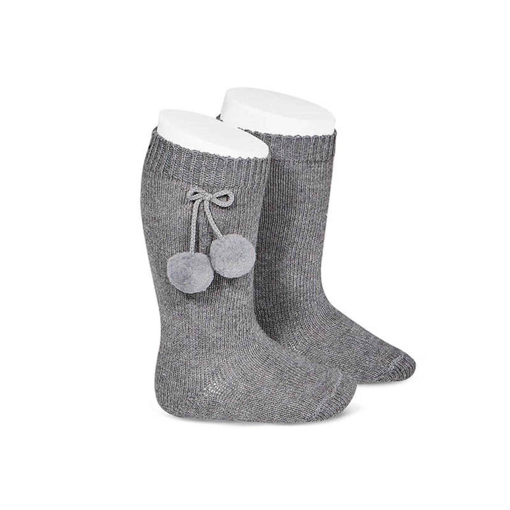 Warm Cotton Sock W/Pompoms - Gray
