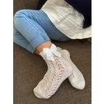 Socks Open w/Bow - White