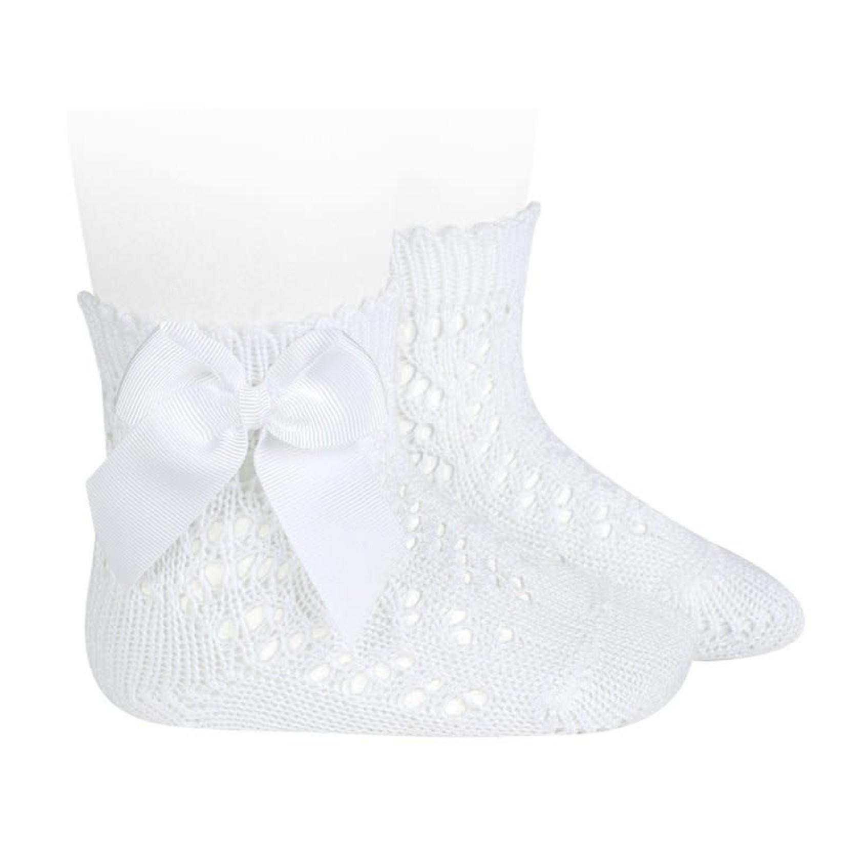 Condor Socks Open w/Bow - White