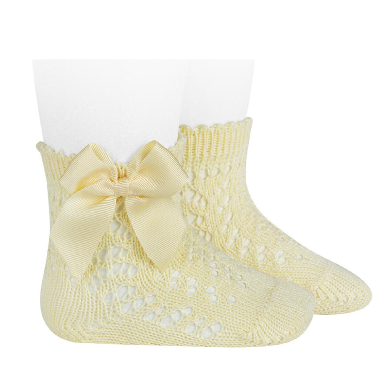 Condor Socks Open w/Bow - Pale Yellow