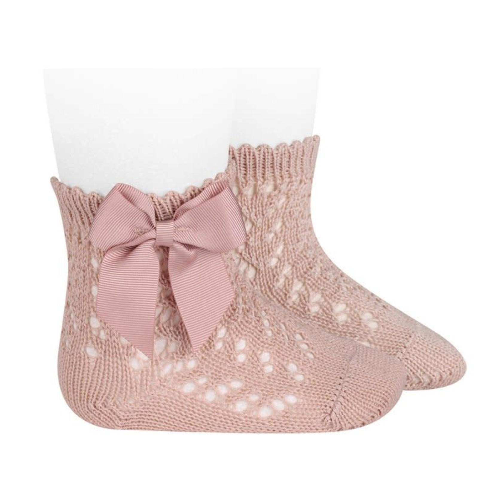 Socks Open w/Bow - Rosa