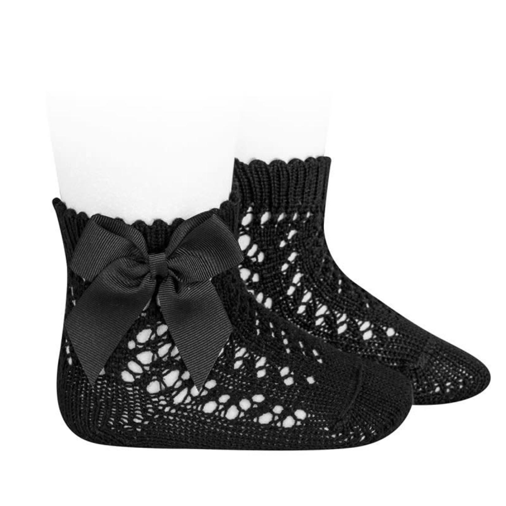 Socks Open w/Bow - Black