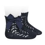 Socks Open w/Bow - Navy