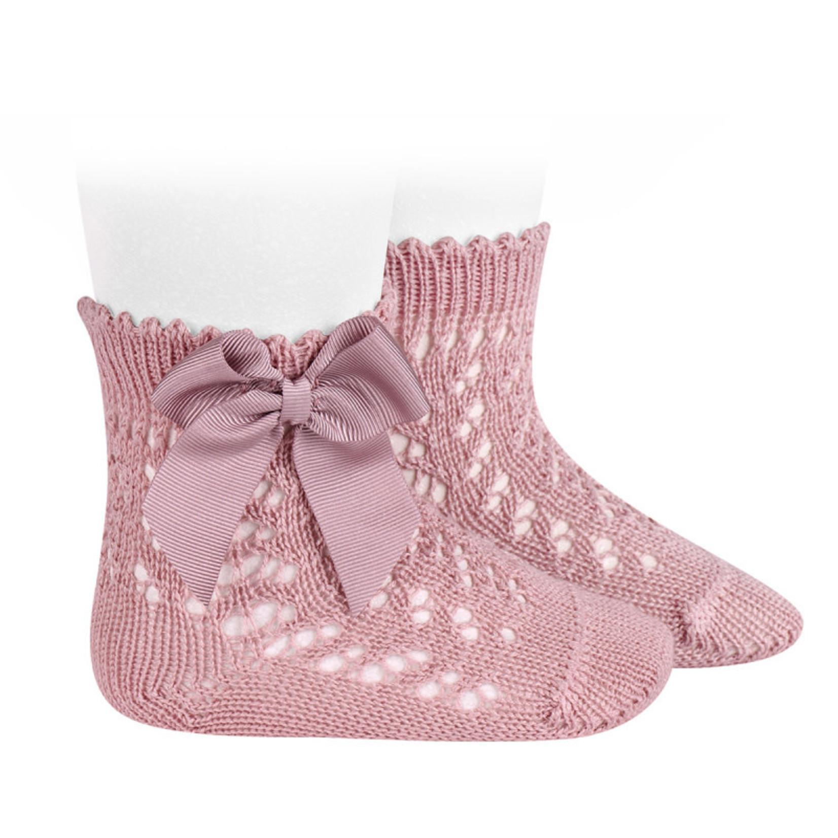 Socks Open w/Bow - Pale Pink