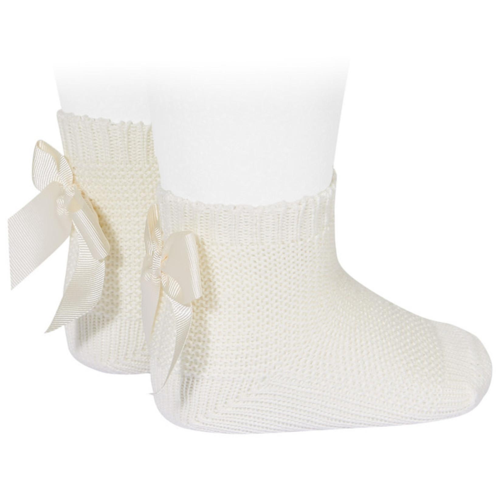 Socks Open b/Bow - Creme