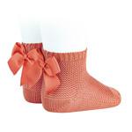 Socks Open b/Bow - Peach