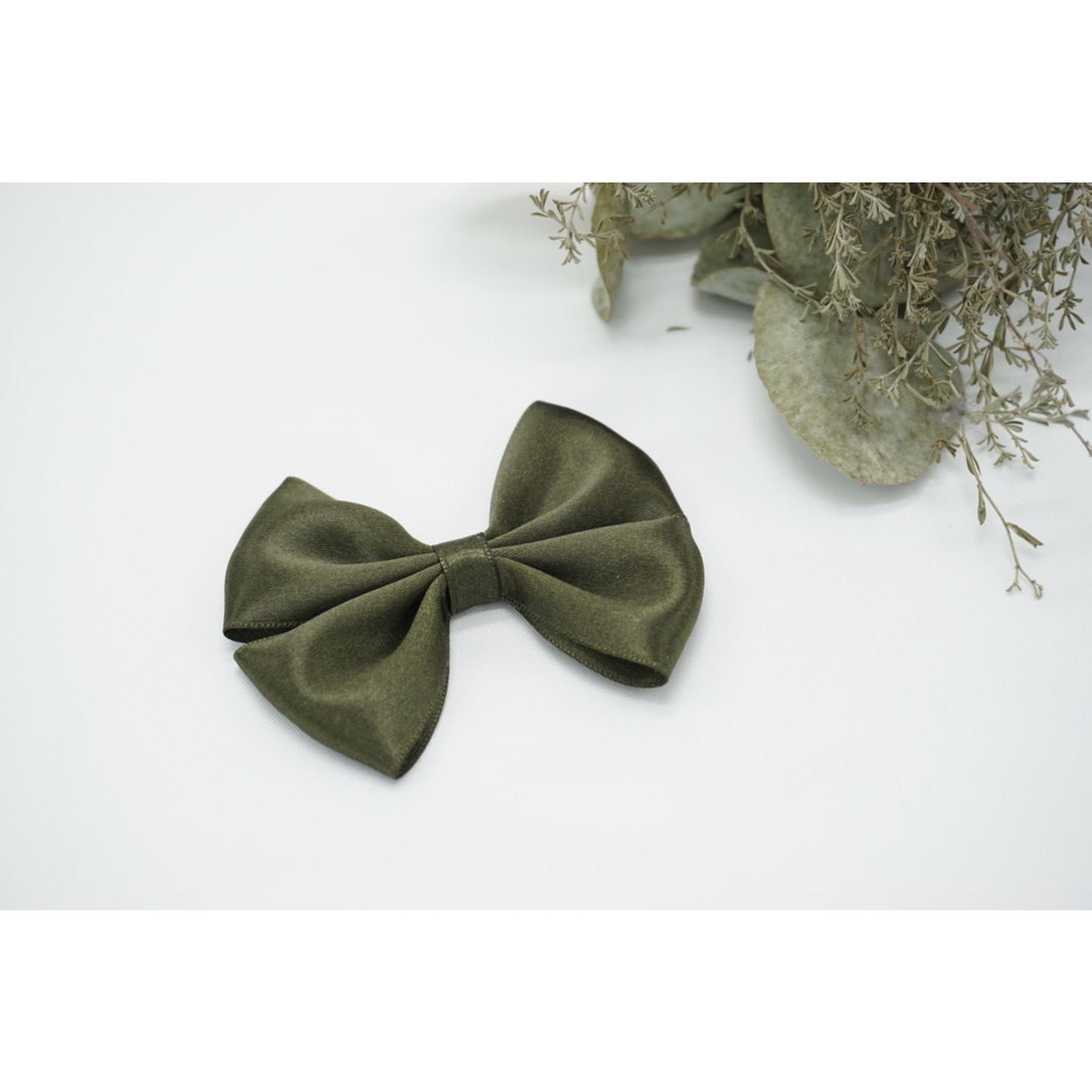 Petite Zara Satin Bow - Army Green