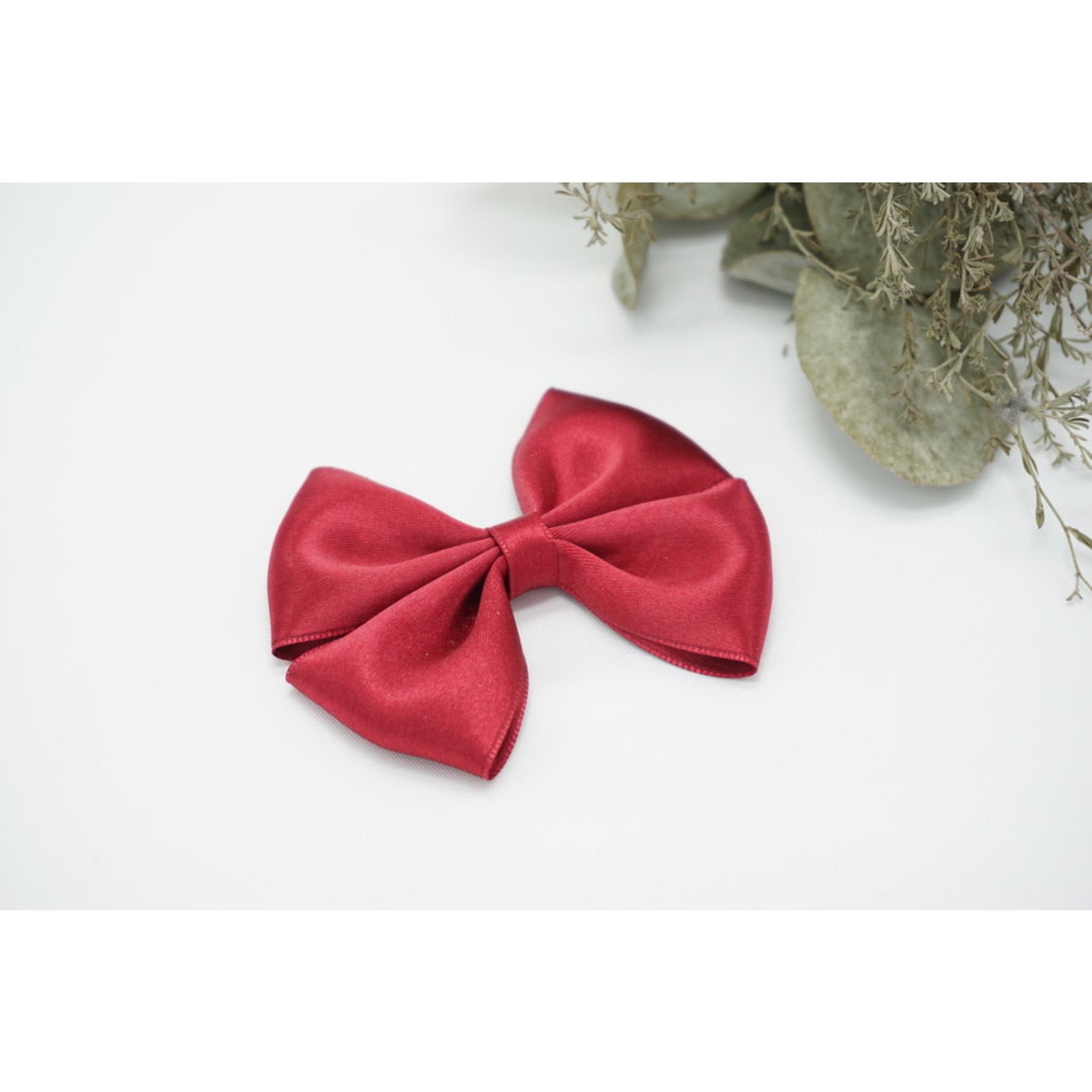 Petite Zara Satin Bow - Garnet
