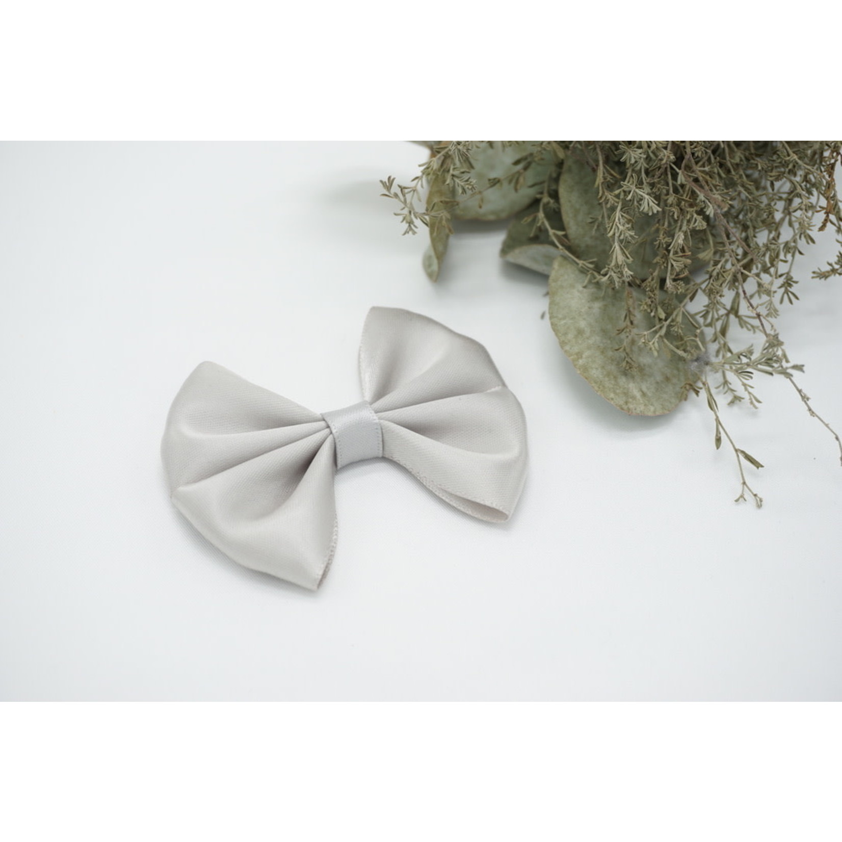 Petite Zara Satin Bow - Light Gray