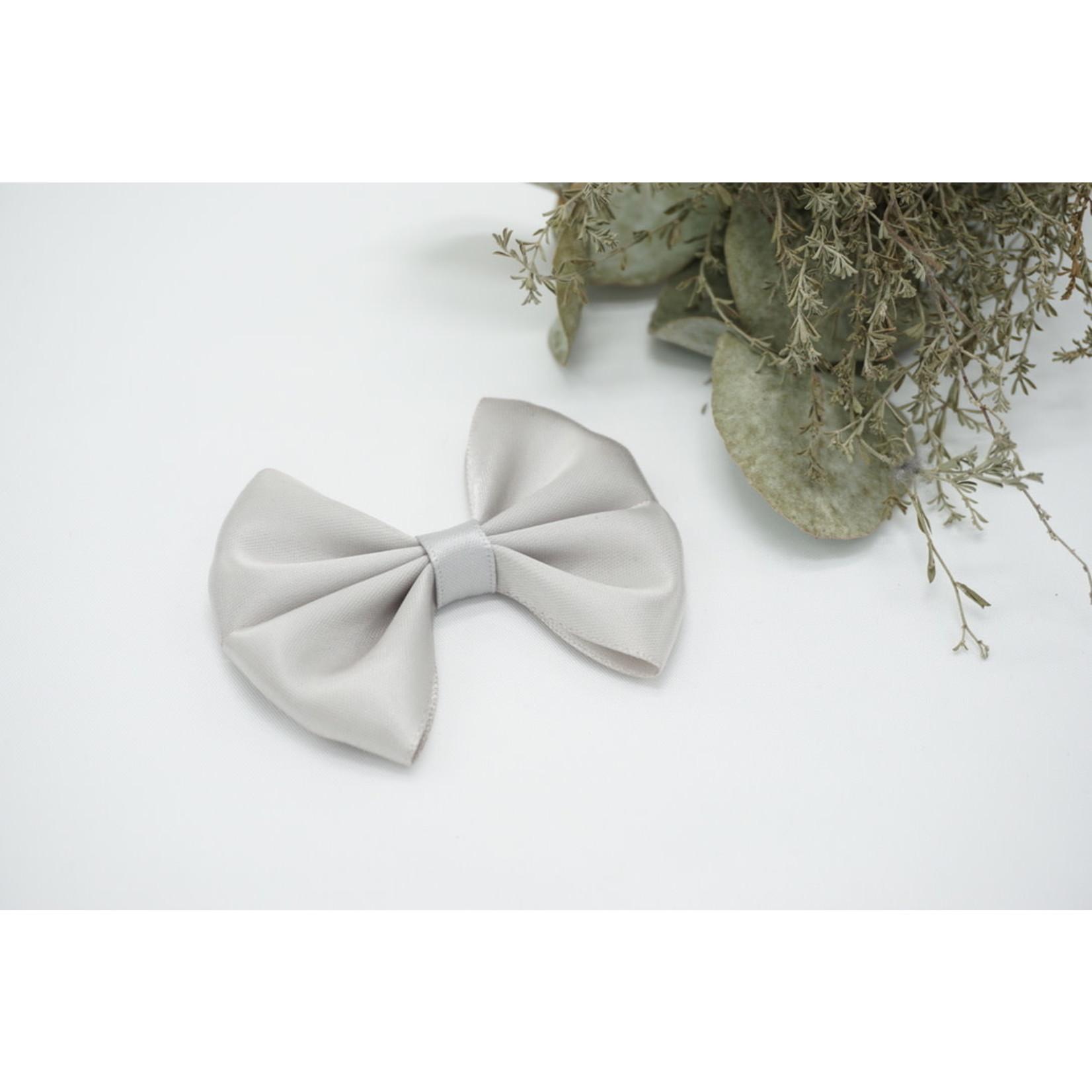 Satin Bow - Light Gray
