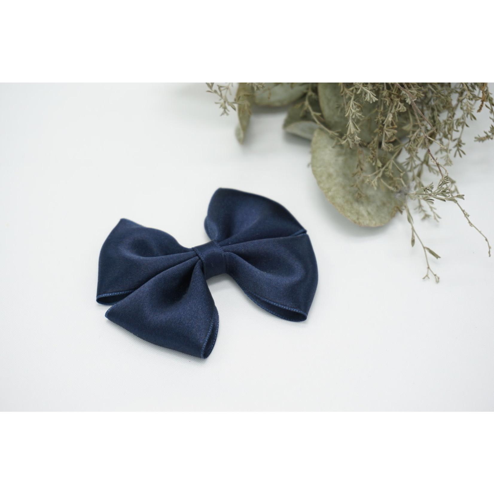 Petite Zara Satin Bow - Navy