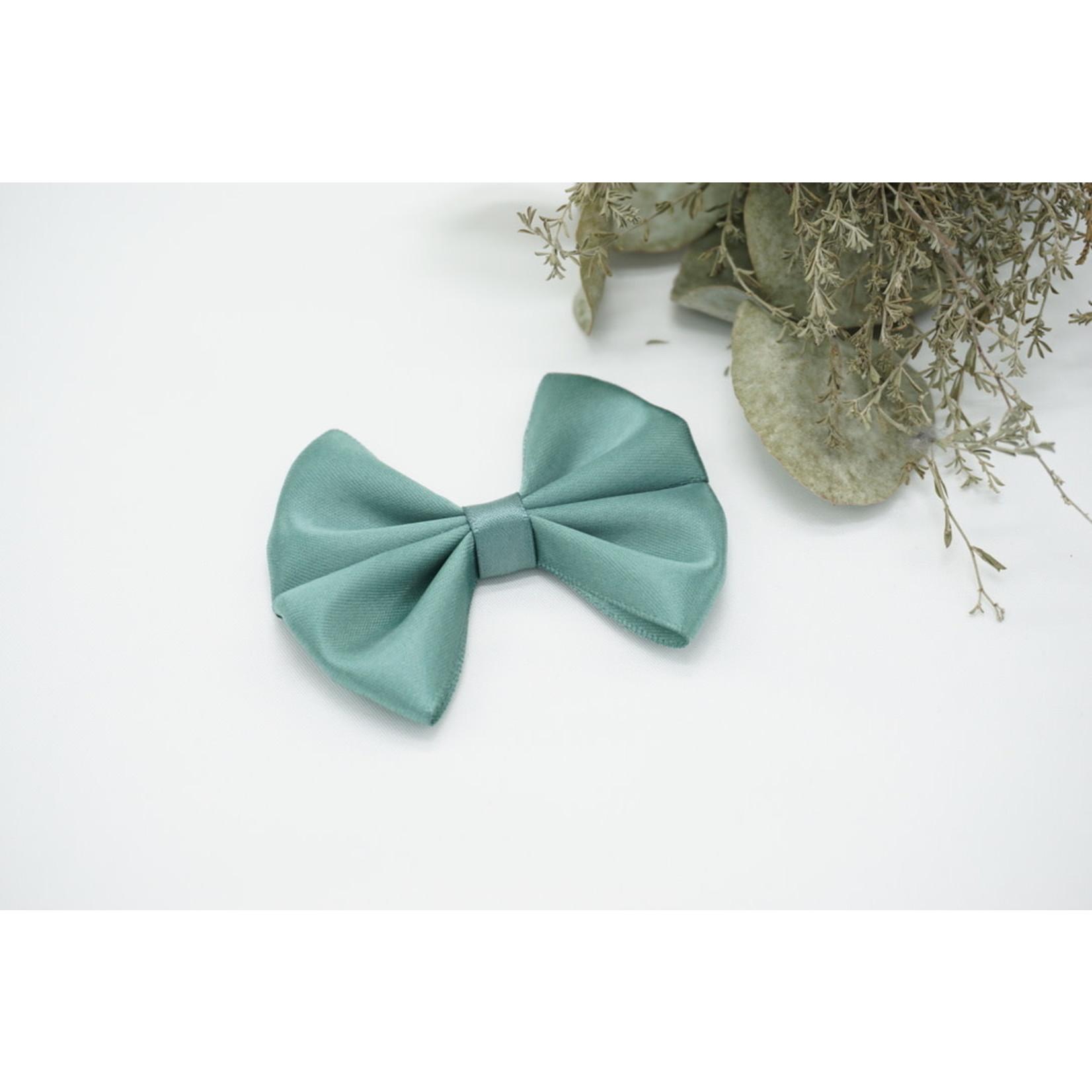 Petite Zara Satin Bow - Stone Green