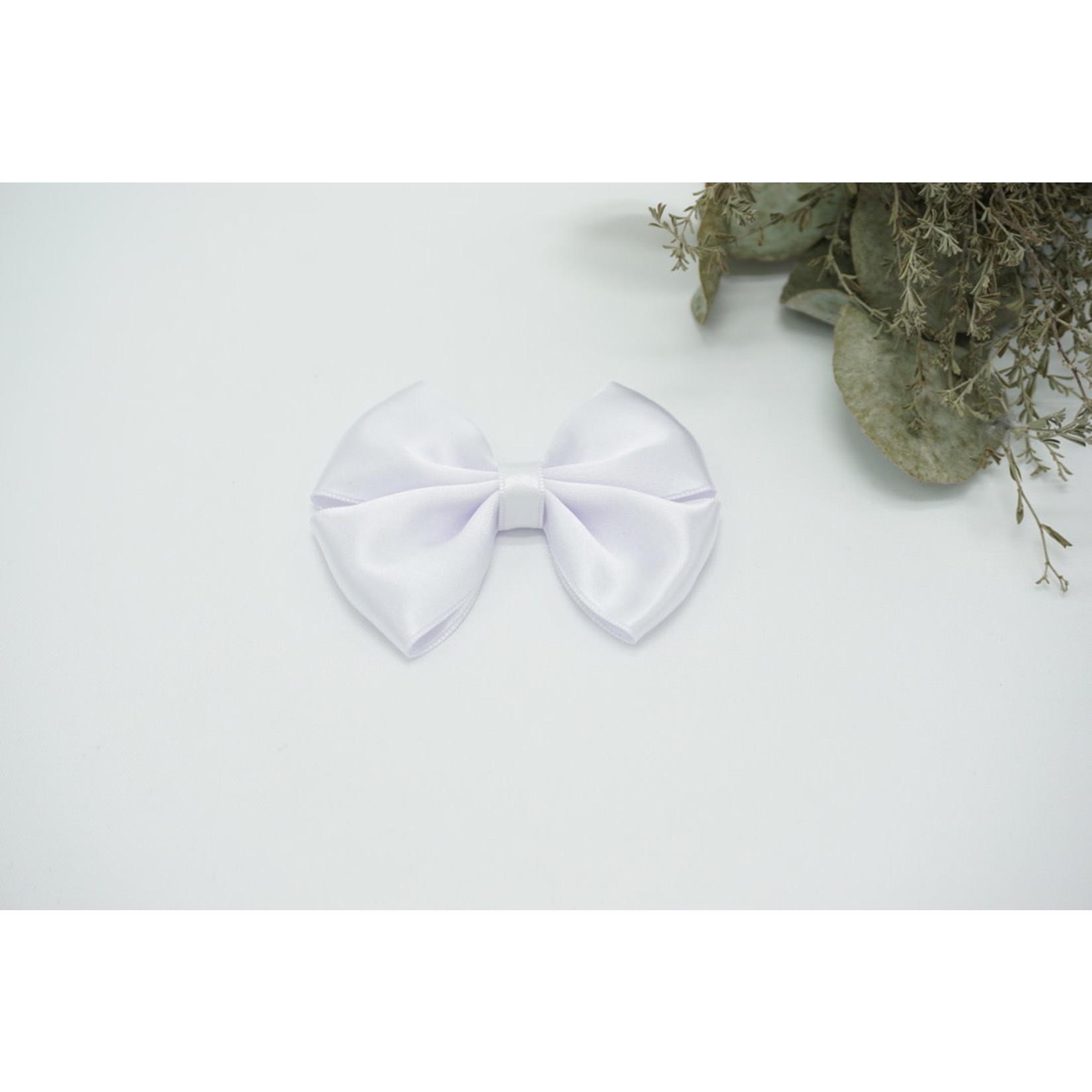 Petite Zara Satin Bow - White