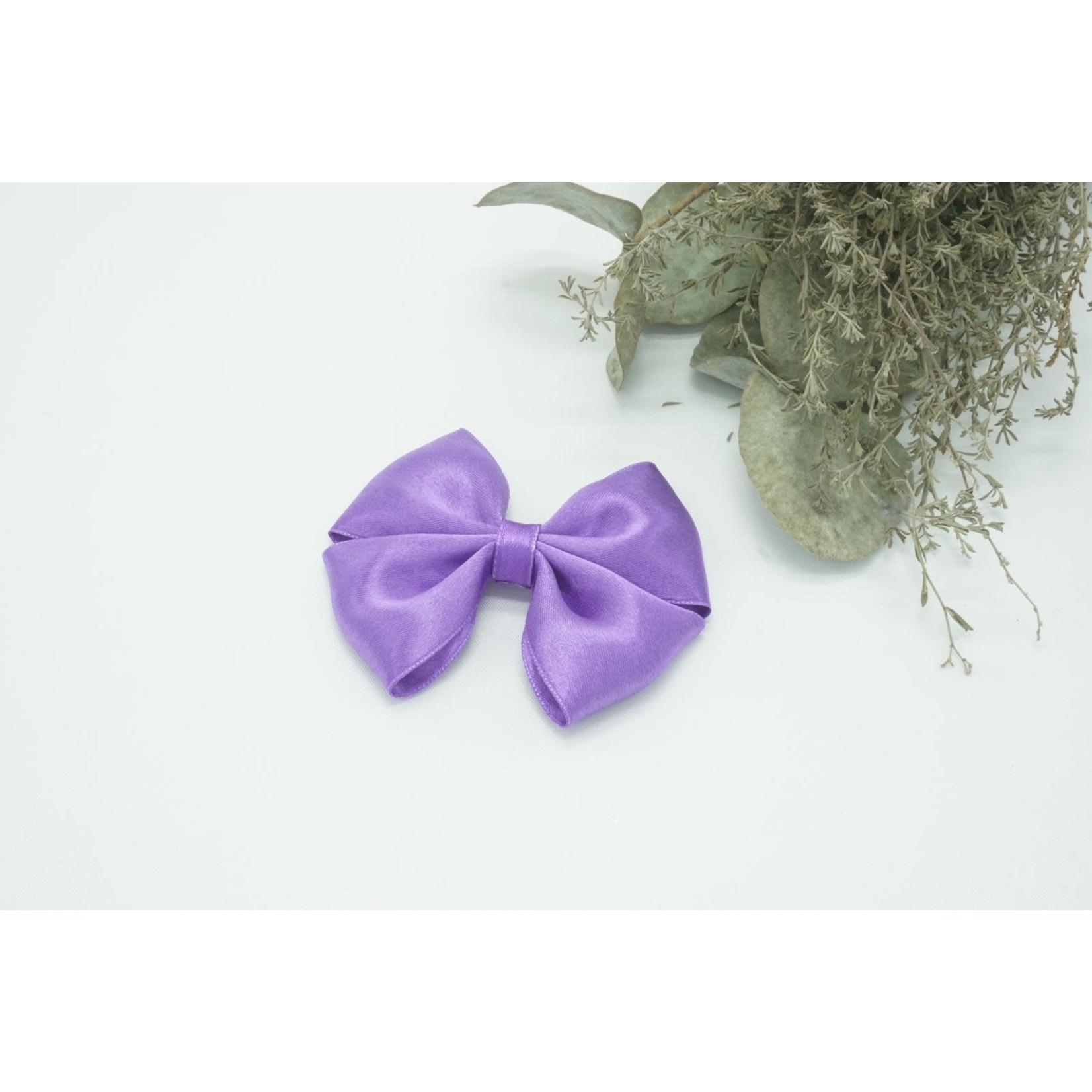 Petite Zara Satin Bow - Dark Violet