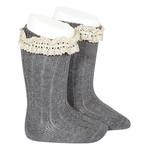 Condor Rib Knee High Socks Vintage - Gray