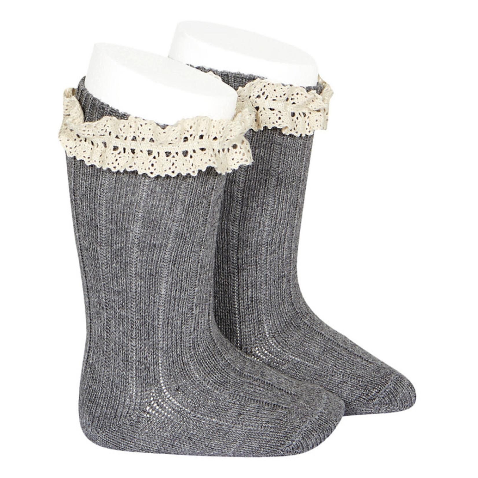 Rib Knee High Socks Vintage - Gray