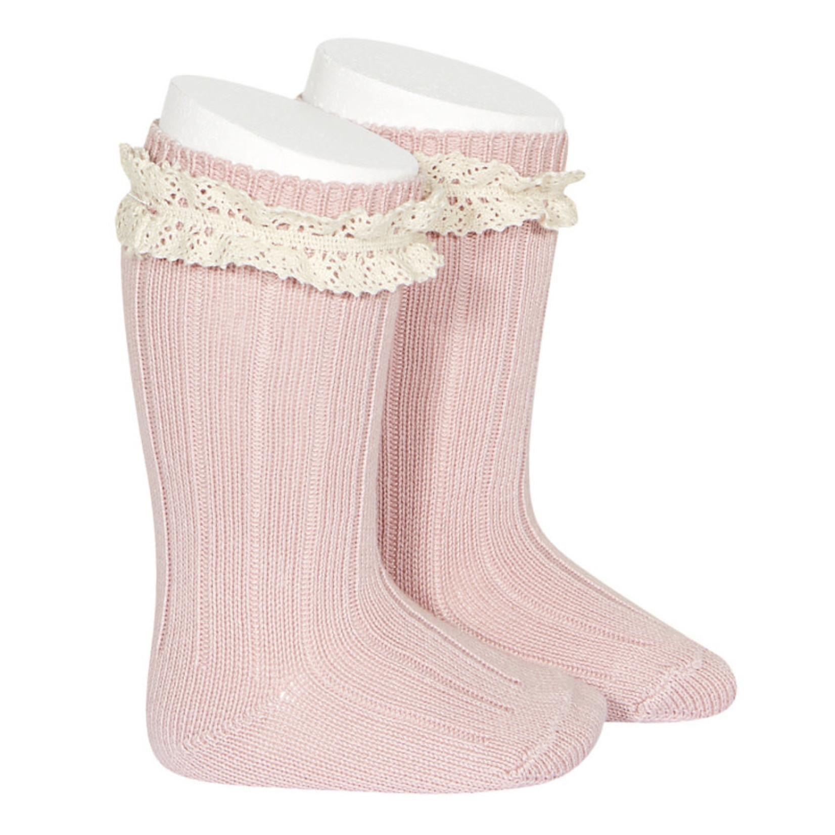 Rib Knee High Socks Vintage - Pale Pink
