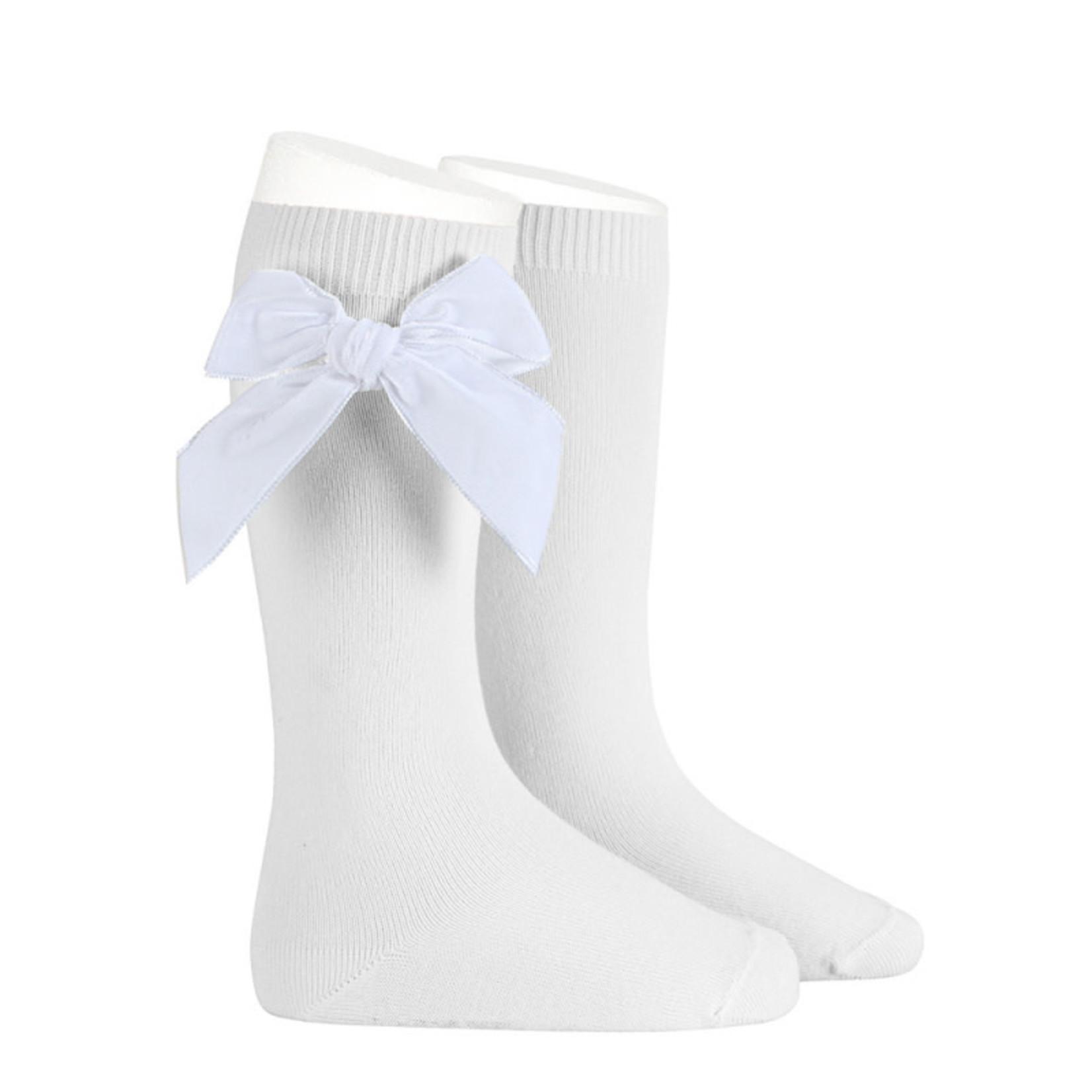 Velvet Socks Knee High - White