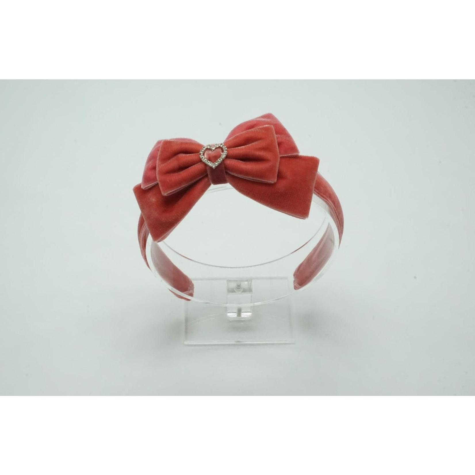 Petite Zara Velvet Diadeem Butterfly Bow - Peach