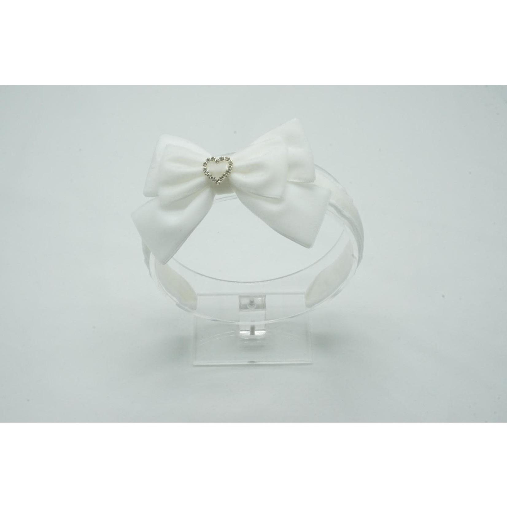 Velvet Diadeem Butterfly Bow - White