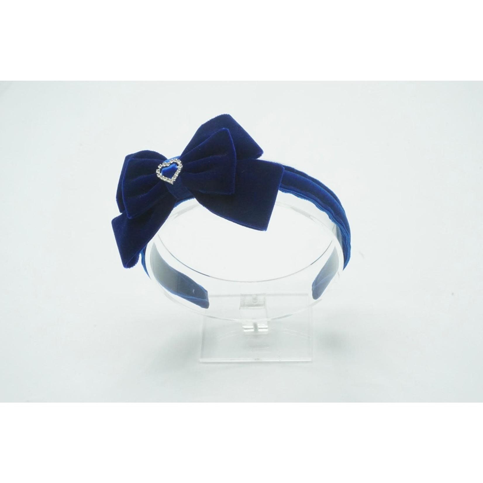 Petite Zara Velvet Diadeem Butterfly Bow - Navy