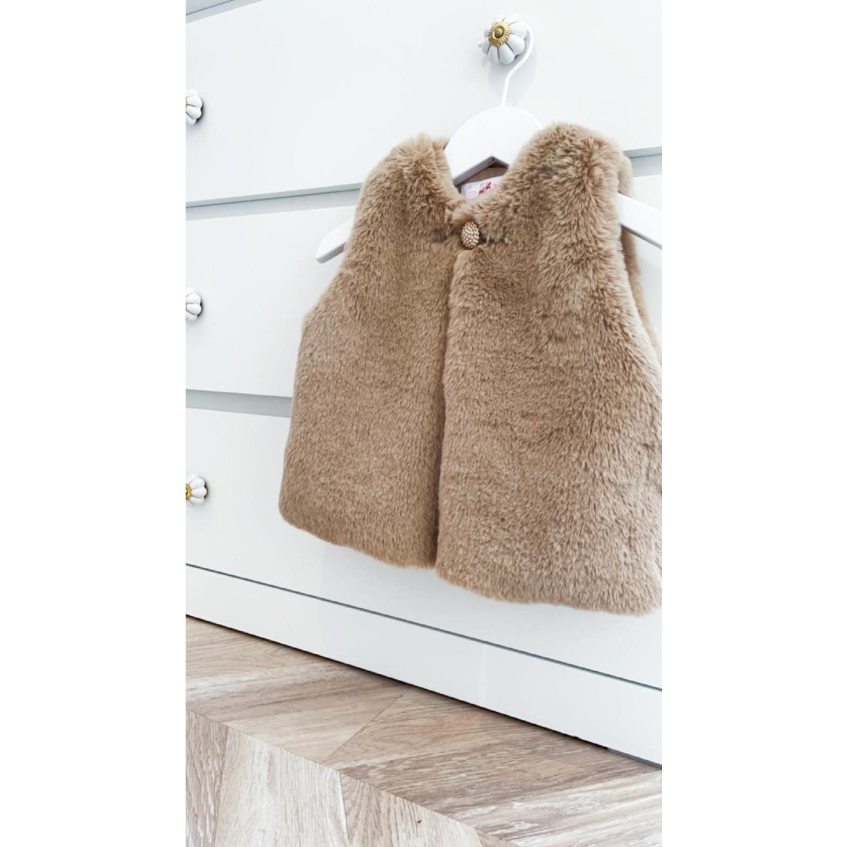 Petite Zara Faux Fur Gilet - Dusty Brown
