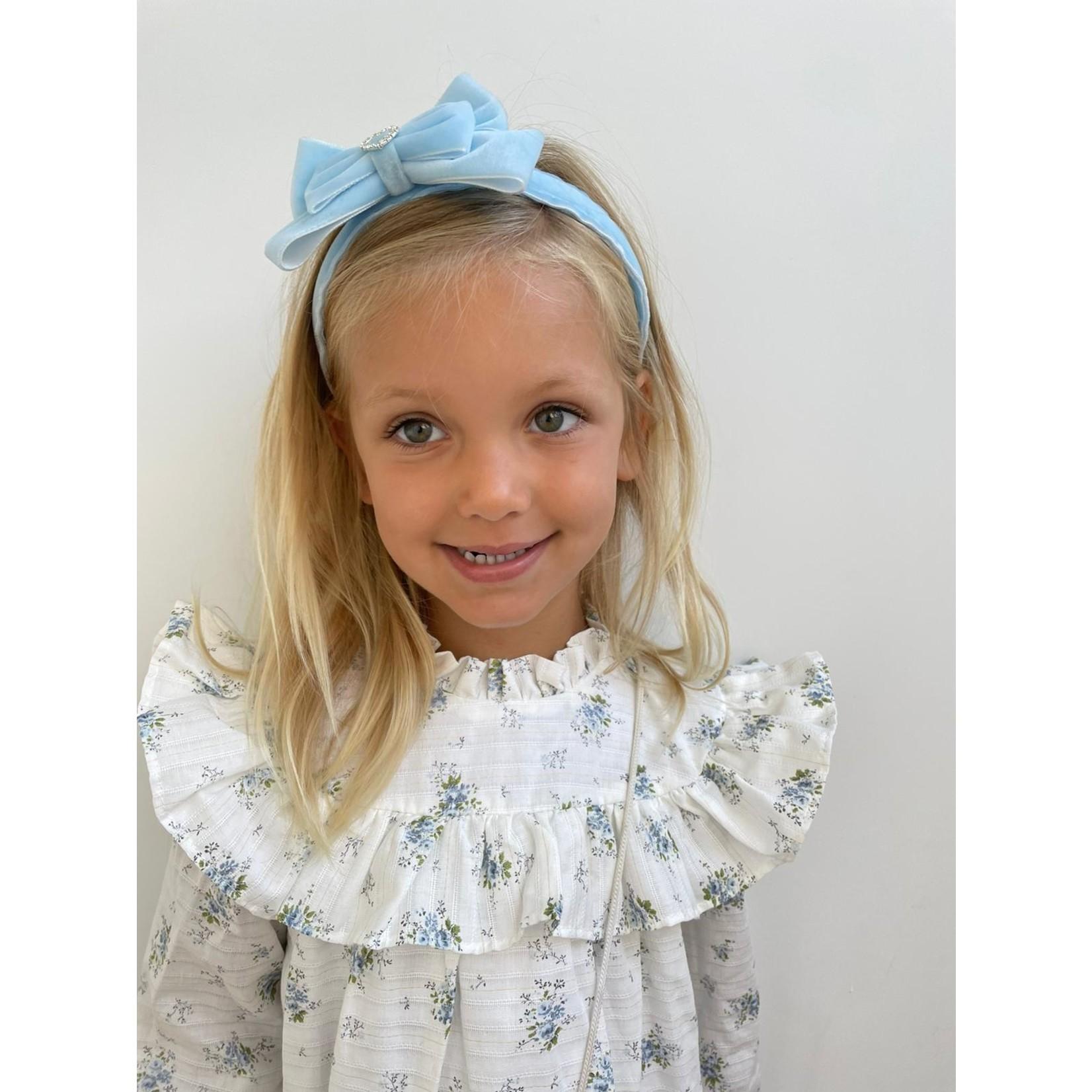 Petite Zara Velvet Diadeem Butterfly Bow - Baby Blue
