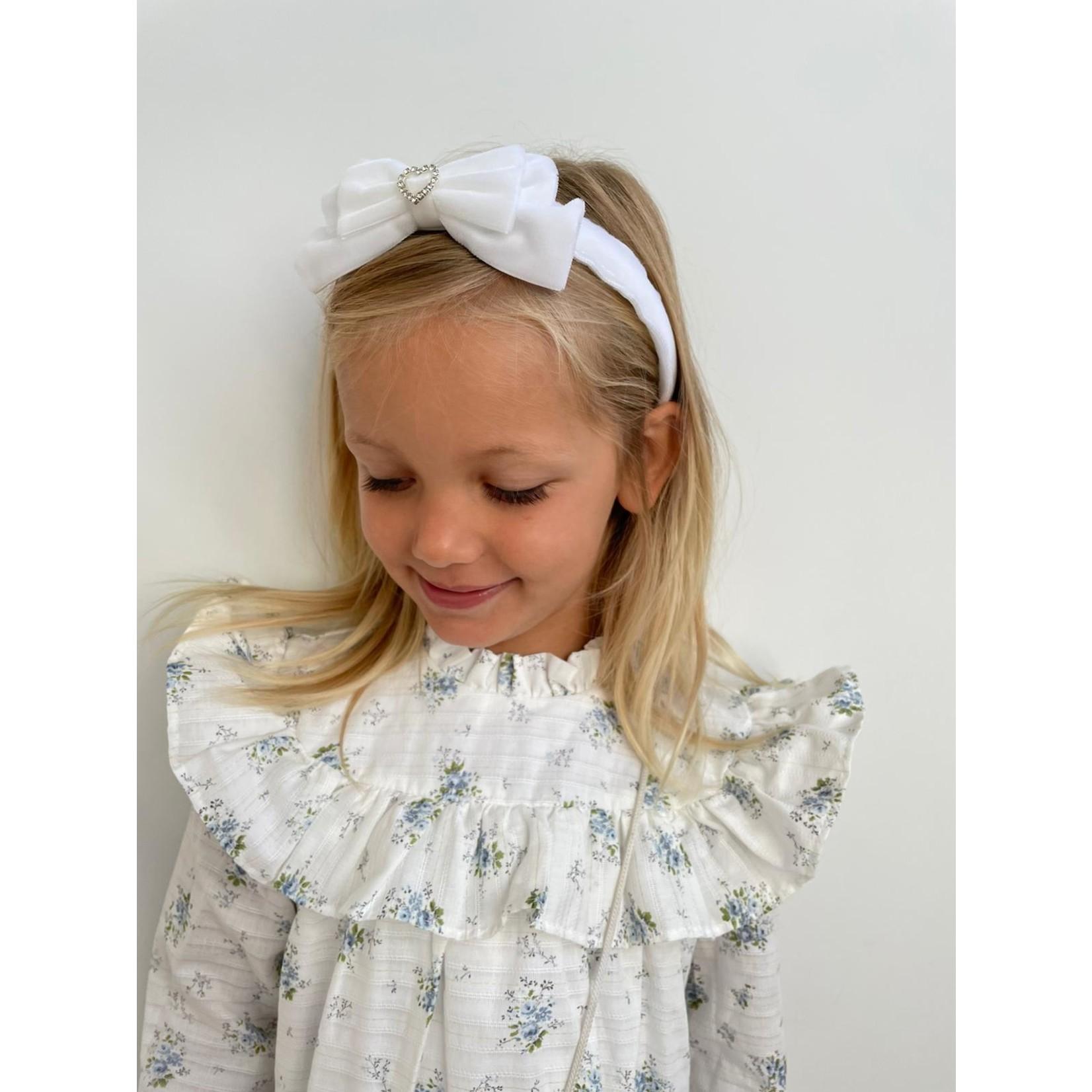 Petite Zara Velvet Diadeem Butterfly Bow - White