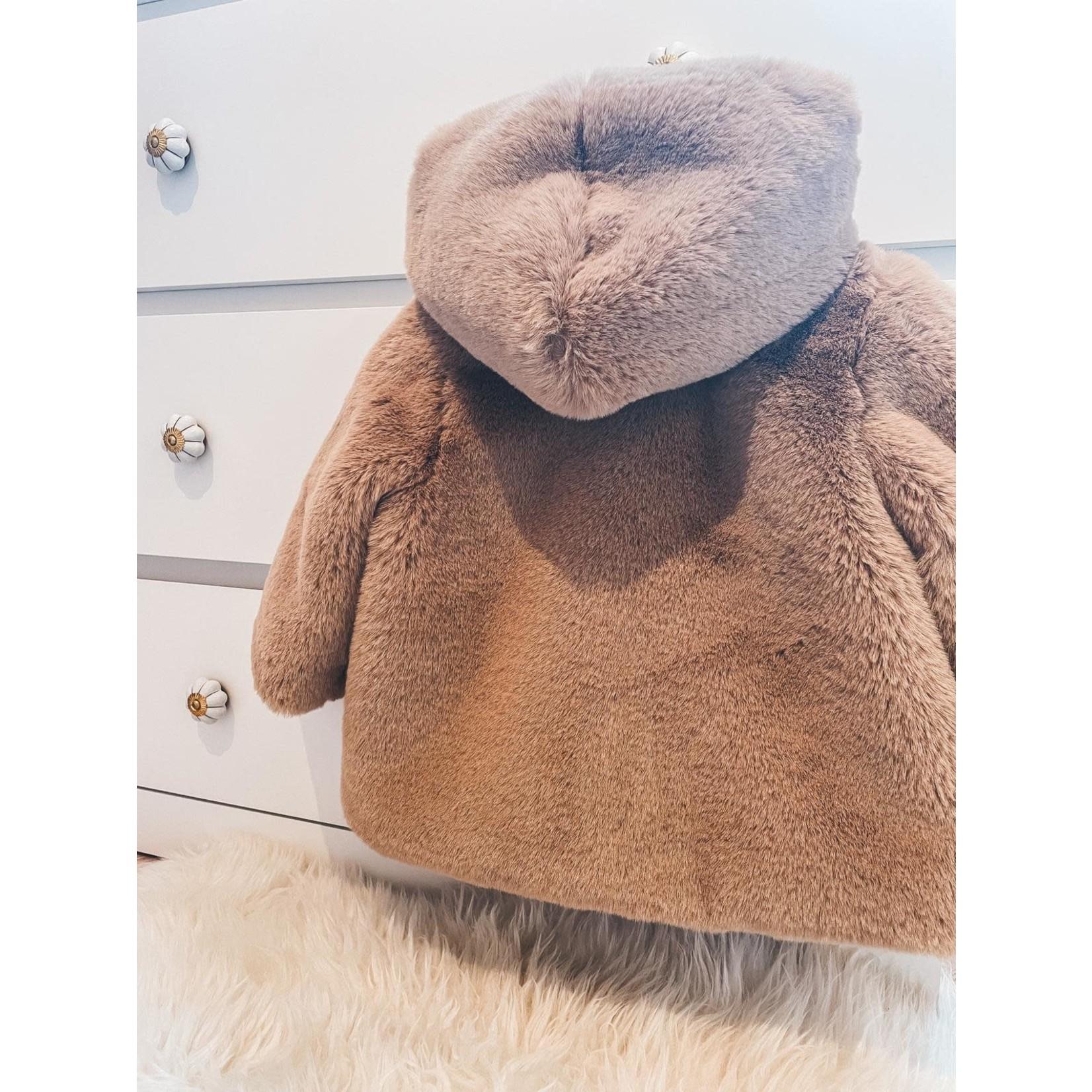 Petite Zara Teddy Coat Dusty Brown - Petite Zara