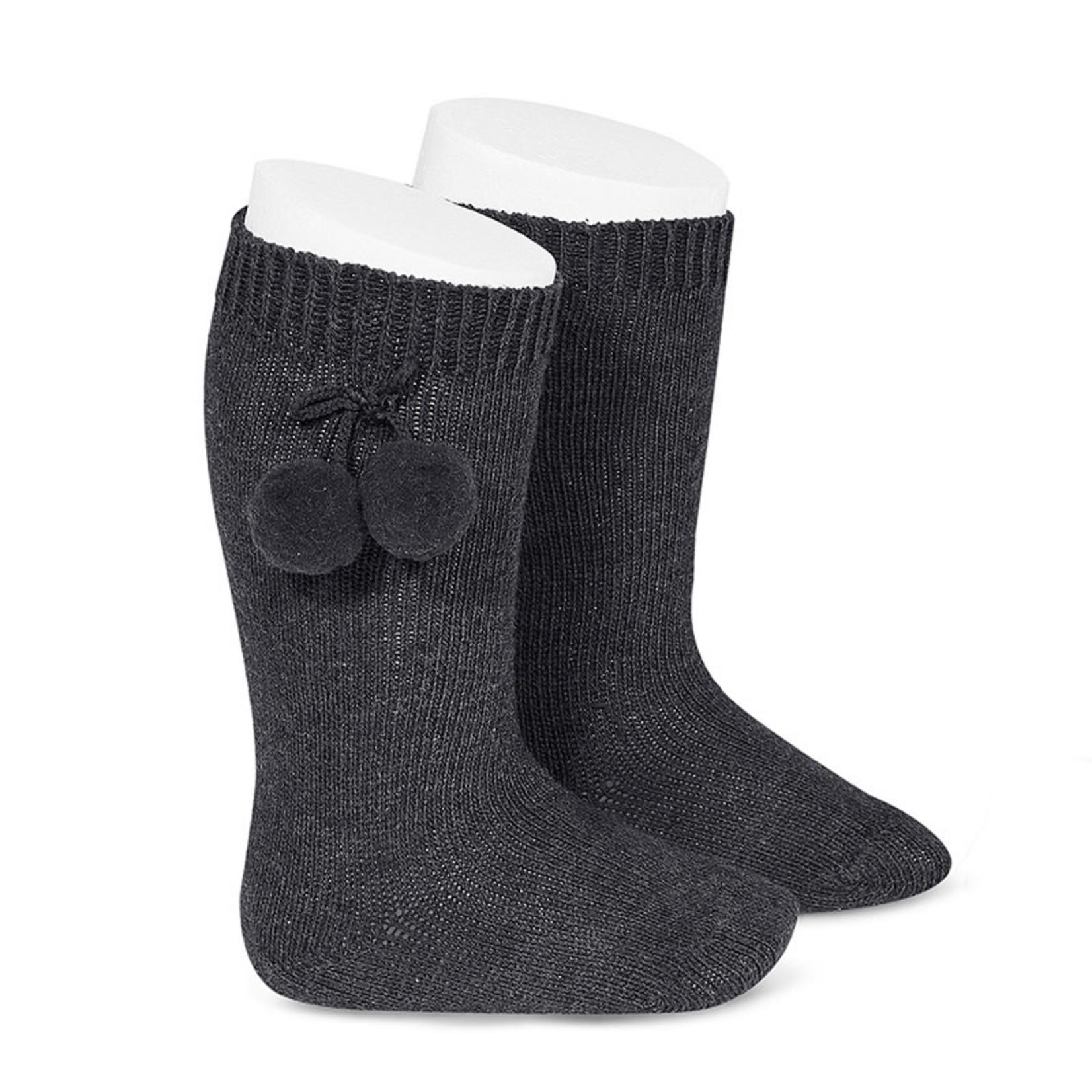 Condor Warm Cotton Sock W/Pompoms - Dark Gray