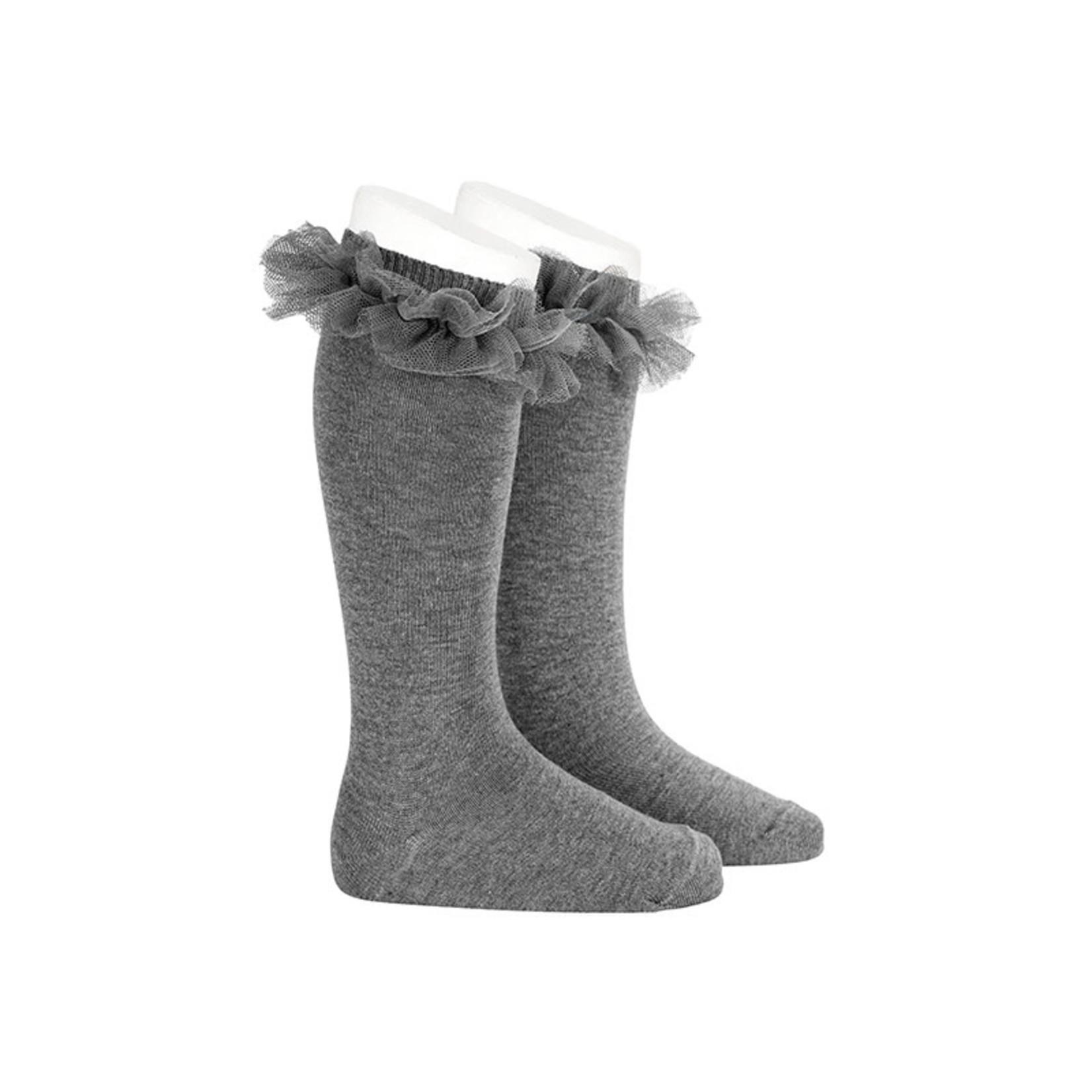 Condor Ruffle Socks Knee High - Gray