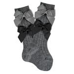 Condor Condor Socks Two Bows - Gray