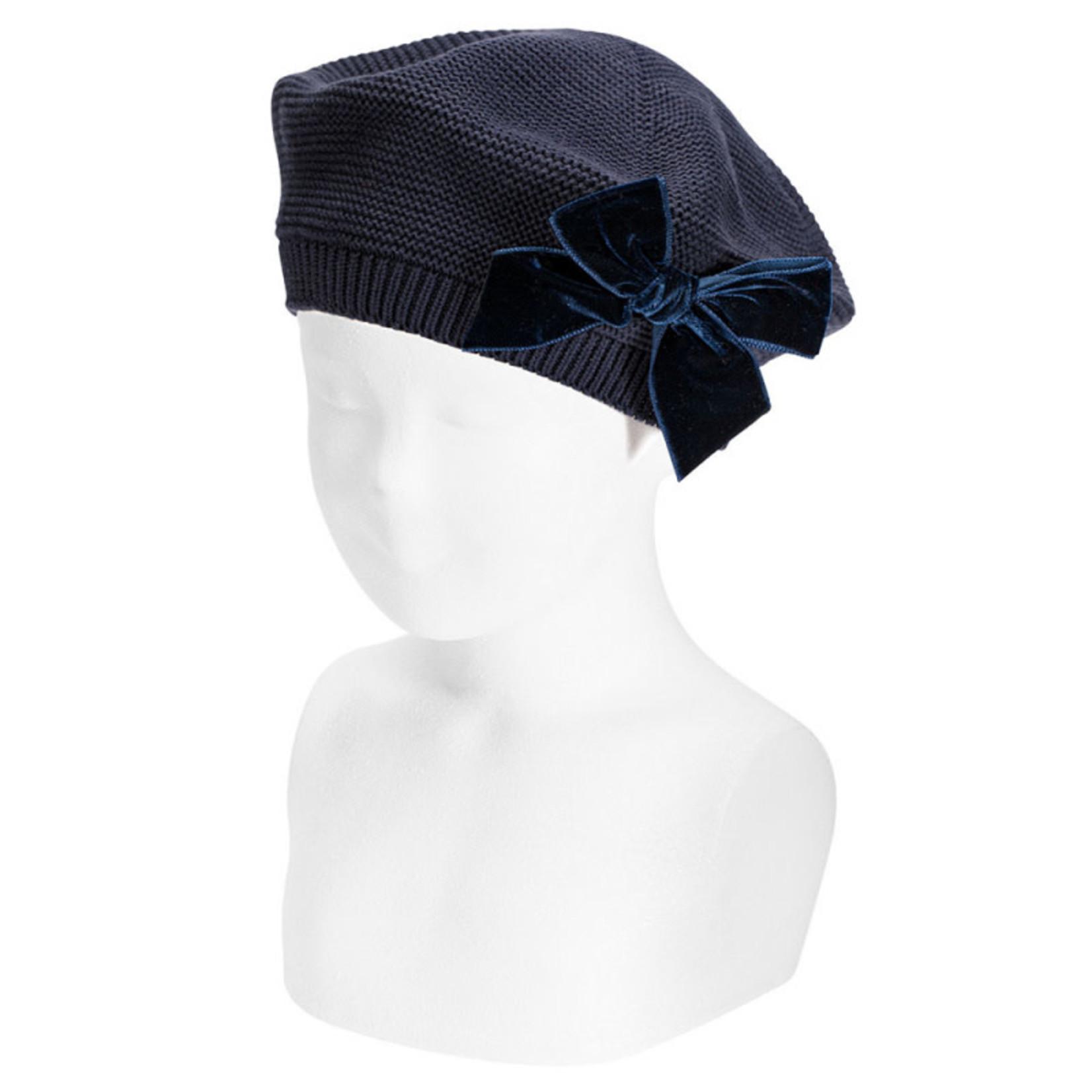 Condor Hat Velvet Bow - Navy